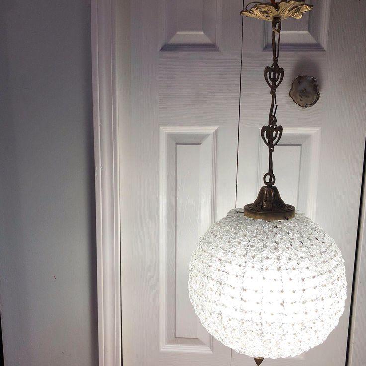 Pearl & Hand Blown Glass Sphere Round Chandelier on Chairish.com