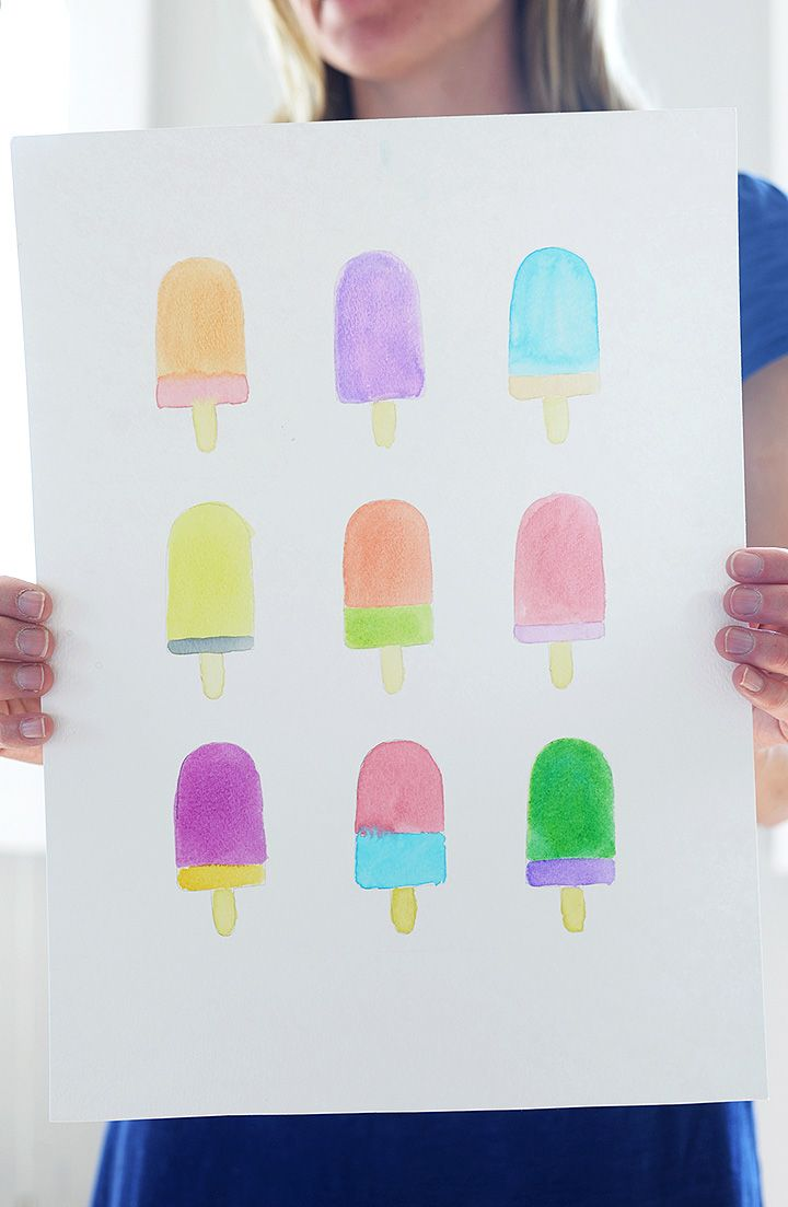Make this DIY watercolor popsicle art print