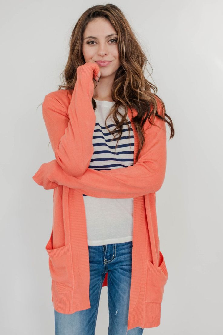 SPRING CARDIGAN IN CORAL
