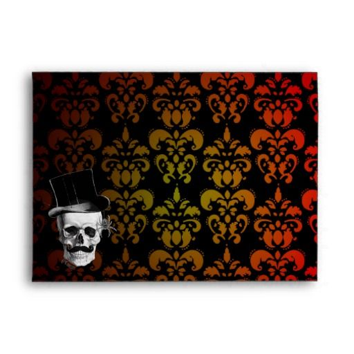 Graduated red,  yellow damask and Steampunk skull Envelope