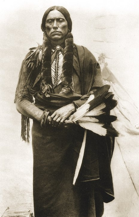 Quanah Parker, Chief of Quahada tribe of the Comanches. Born at Lagunas Sabinas (Cedar Lake in Gaines Co. Tx).  Led the Indians in the battle of Adobe Walls in which he was wounded. His mother, Cynthia Ann Parker, was a captured white woman. His father had been a chief of the Comanche tribe. In later years, on the Comanche reservation near Anadarko, Oklahoma, he became a respected and wealthy cattleman and met President Theodore Roosevelt.