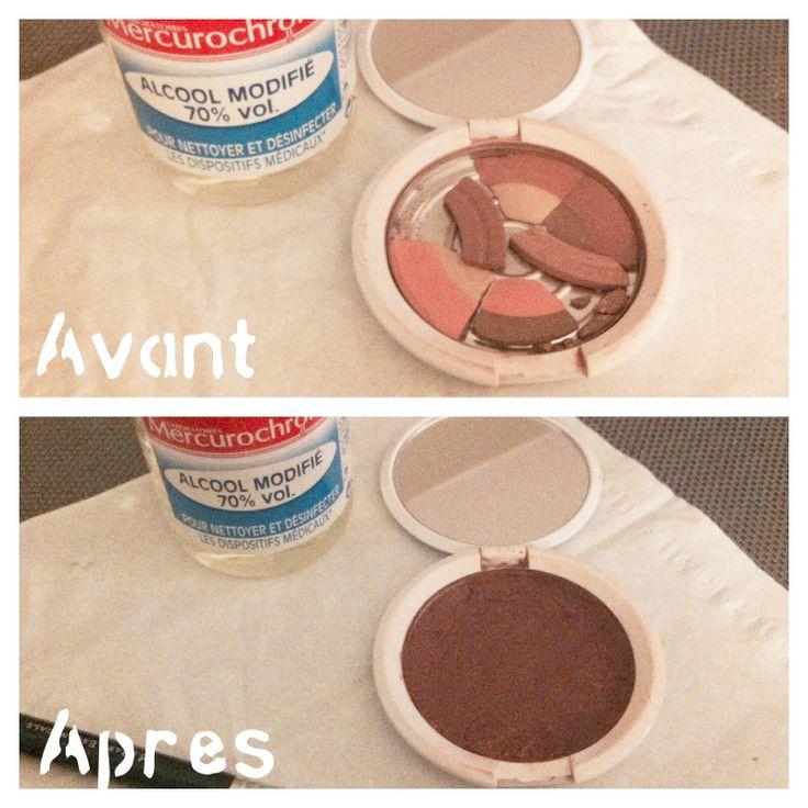 DIY réparer poudre cassée. Casser la poudre en tous petits morceaux. Ajouter petit à petit de l'alcool a 70% bien étaler la pâte obtenue à l'aide d'un pinceau. Aplanir à l'aide d'un mouchoir. Laisser sécher 12 à 24h.