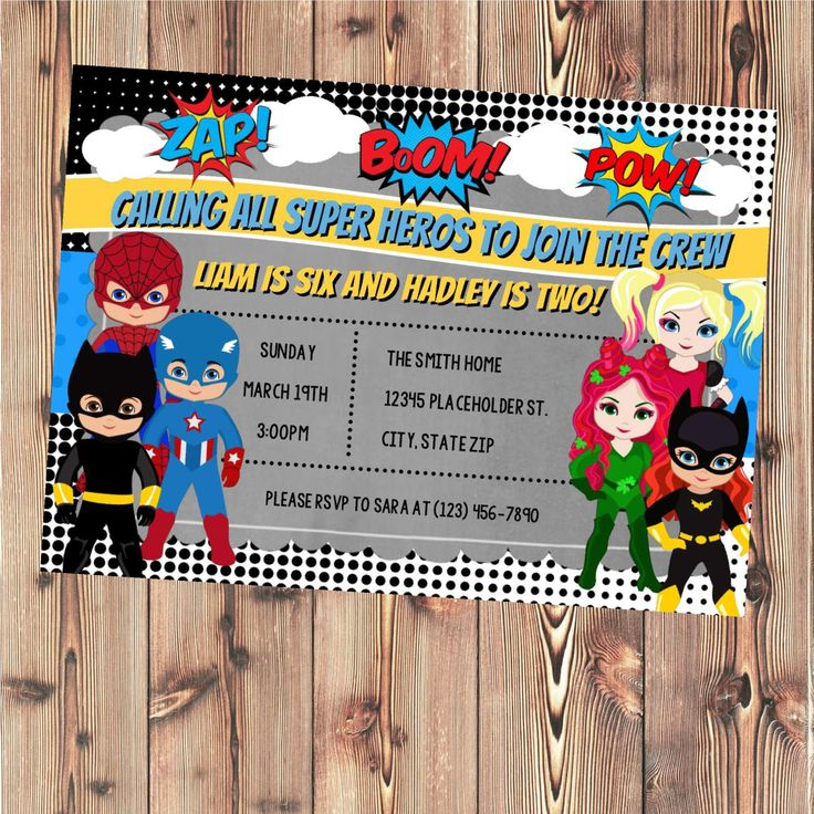 Superhero Invite - Superhero boys and girls - Twin or Sibling Birthday Party Invite - Printable File by CreativeKittle on Etsy