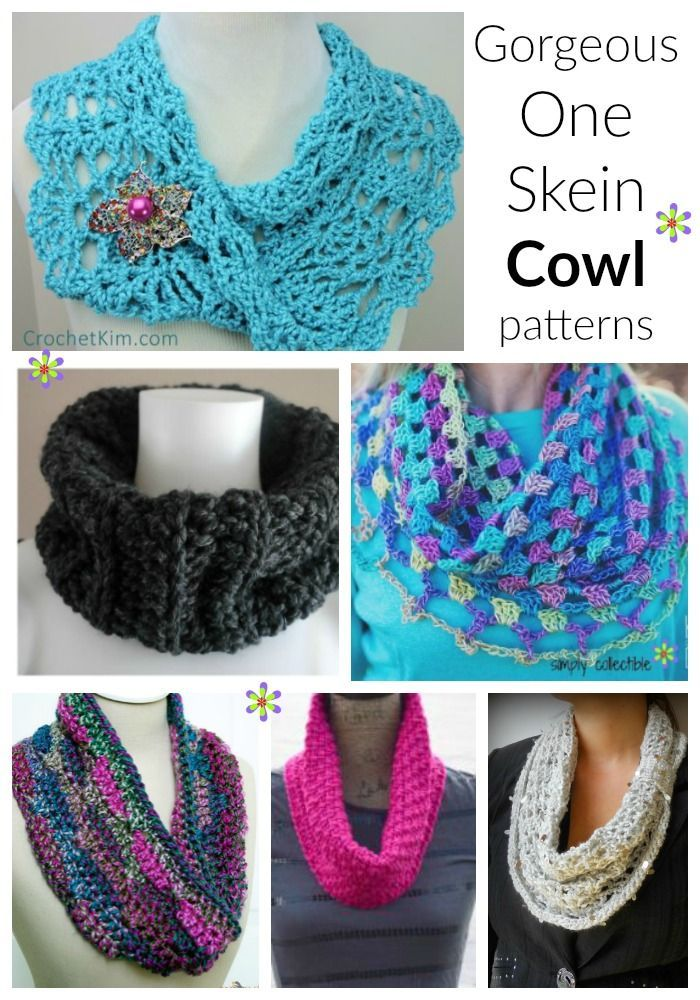 Gorgeous, Free One Skein crochet Cowl Patterns | SimplyCollectibleCrochet.com Work one of these gorgeous, one skein crochet cowl patterns in a single evening. You could evening make a couple during a day trip!