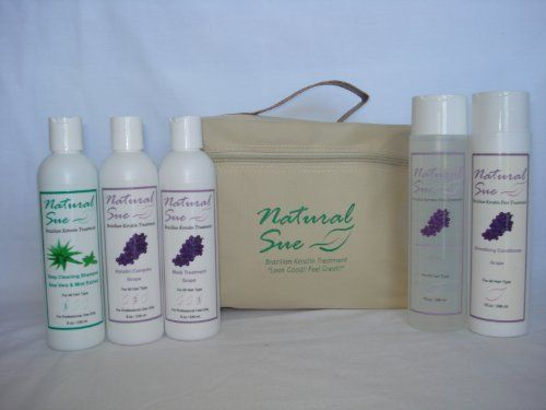 Natural Sue: DO IT YOURSELF - COMPLETE KIT FOR LONG HAIR- The Best Brazilian Keratin Hair Treatment & Post-Treatment - Deep Cleaning Shampoo 08oz + Keratin Complex Grape 08oz + Mask Treatment Grape 08oz + Salt-free Shampoo Grape 10oz + Conditioner Grape 10oz + Silky Serum + FREE Travel Bag by Natural Sue, http://www.amazon.com/gp/product/B005WWBM8A/ref=cm_sw_r_pi_alp_IfWMpb0YJFK2T - Price $90.00
