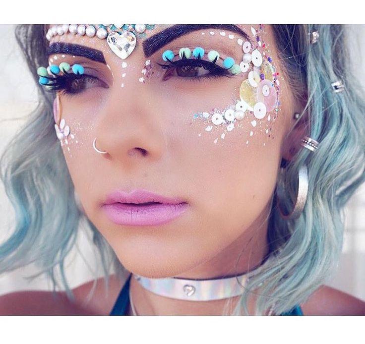 Rave Eye Makeup With R... Rave Makeup Rhinestones