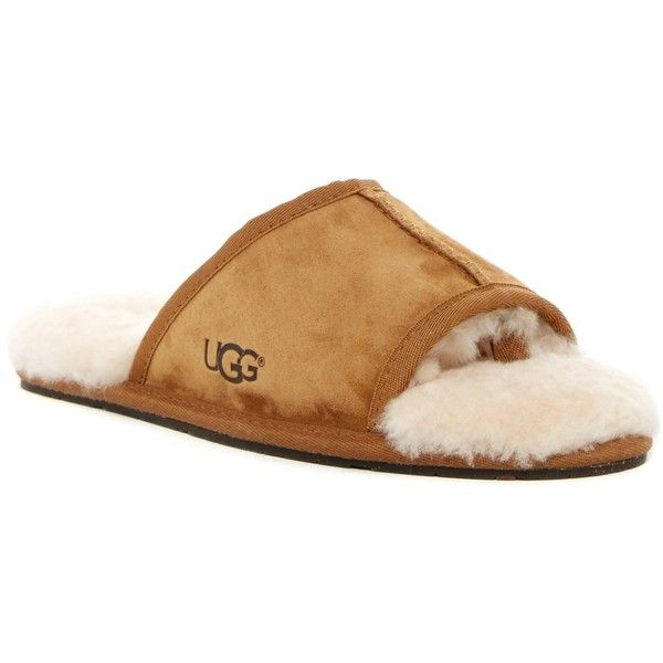 UGG Australia Mellie Open Toe Genuine Sheepskin Slipper ($60) ❤ liked on Polyvore featuring shoes, slippers and che