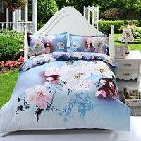Wish   UNIHOME,4pcs Queen Size Duvet Cover Set,3d Elegant Cherry Blossom Bedding Set Comforters Duvet Cover Quilt Bed Linen Sheet Bedspread