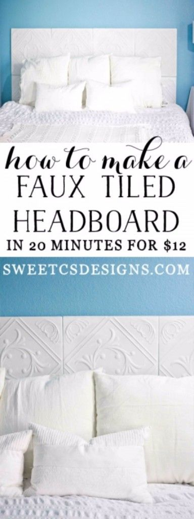 DIY Headboard Ideas - Faux Tiled Headboard - Easy and Cheap Do It Yourself Headboards - Upholstered, Wooden, Fabric Tufted, Rustic Pallet, Projects With Lights, Storage and More Step by Step Tutorials http://diyjoy.com/diy-headboards