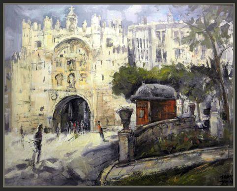 BURGOS-PUERTA DE SANTA MARIA-PINTURA-PINTOR-ERNEST DESCALS- Pinturas de los paisajes y la historia de Burgos. Cuadro del pintor Ernest Descals sobre lienxo de 81 x 100 centímetros.