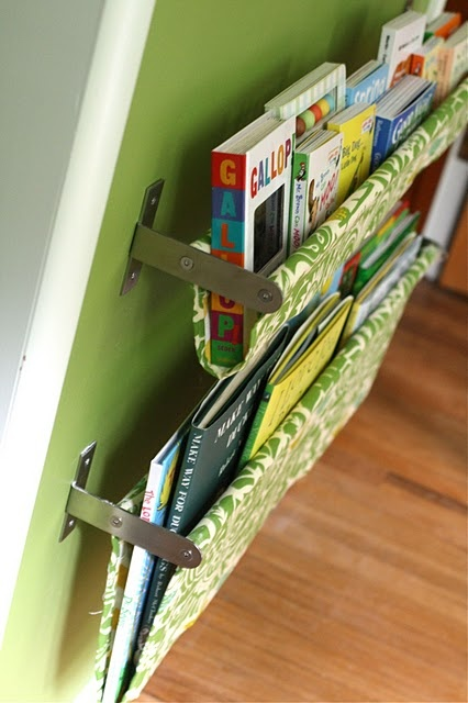 "book sling using double towel rack from IKEA ($15 for 31""; $10 for 15"")"