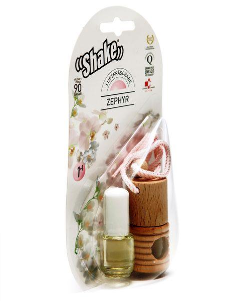 Doftolja Zephyr ger en delikat känsla av renhet. Uppmuntrar positiva tankar. 2 förpackningar enligt nedan En förpackning SHAKE doftoljor innehåller 2 flaskor a 4,5ml doftolja samt en vacker träbehållare och ett snöre. Detta gör att doftoljorna kan användas som vanligt (som rumsdoft, i badet, i bastun m.m.) samt med lätthet hängas och pendla från t.ex. bilens backspegel.