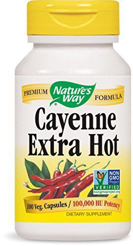 Cayenne (Capsicum Annuum) has been traditionally used for poor circulation, cold extremities, weak nerve force, indigestion, flatulence, expels mucous, hoarseness, colds and flu, heart attacks, rheumatism, inflammation, pleurisy, shingles, alcoholic delirium tremens, opium and heroin... more details at http://supplements.occupationalhealthandsafetyprofessionals.com/herbal-supplements/cayenne/product-review-for-natures-way-cayenne-extra-hot-capsules-100ea/