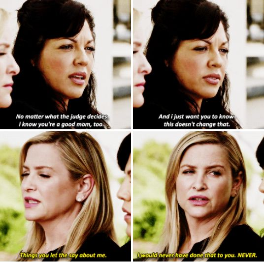 Callie: No matter what the judge decides, I know that you're a good mom, too. And I just want you to know this doesn't change that.  Arizona: The things that you let them say about me... I would never have done that to you.  (12x22)