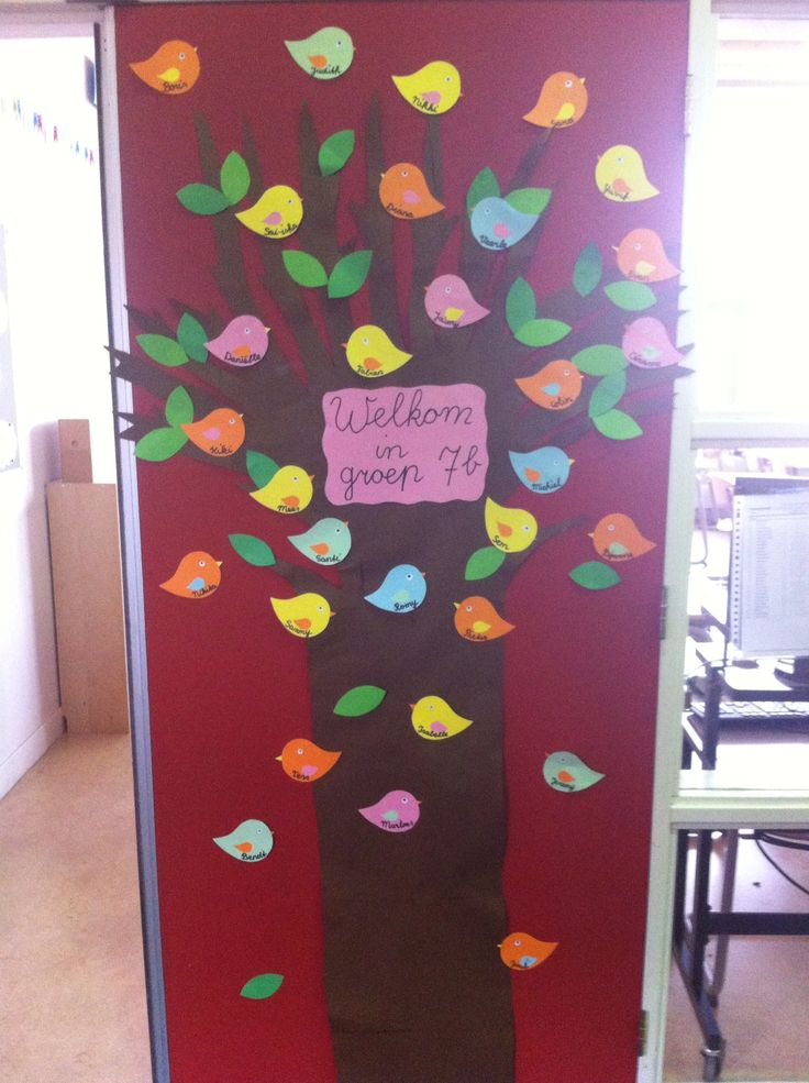 Deur op eerste schooldag! Op de vogeltjes staan de namen van de nieuwe kinderen.. Welkom in groep 7b!