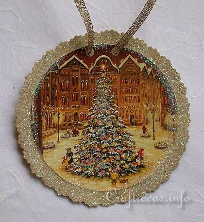 Christmas Paper Craft - Recycling Used Christmas Cards,,, Tree Ornament