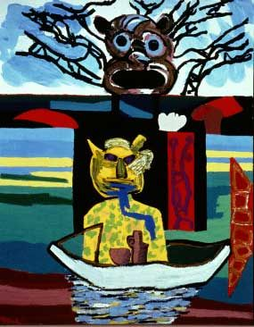 "Karel Appel, The Discovery, 1986, oil on canvas, 95 1/2 x 77 1/2"".  Born in Amsterdam in 1921. His visit to Denmark in 1946 resulted in his association with artists who would later become part of COBRA, a group whose members would espouse Primitivism.  After the war, he would seek the total freedom associated with the spontaneous and unfettered art of children. He looked to Van Gogh rather than Mondrian because Van Gogh's work portrayed the madness to which Appel could relate."