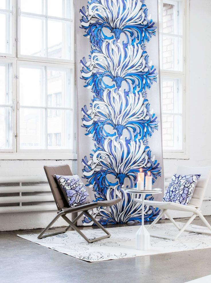 Lempi Blue Fabric - A big, bold and beautiful design in vibrant blue on a neutral grey background. By Vallila Interior and exclusive in NZ to Harvey Furnishings.