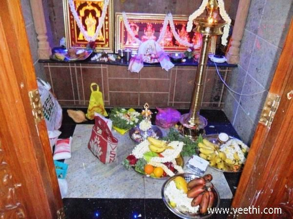 Offerings placed inside pooja room after house warming ceremony