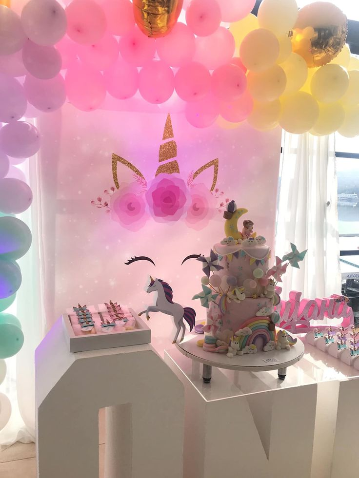 Unicorn First Birthday Party Decoration (With images