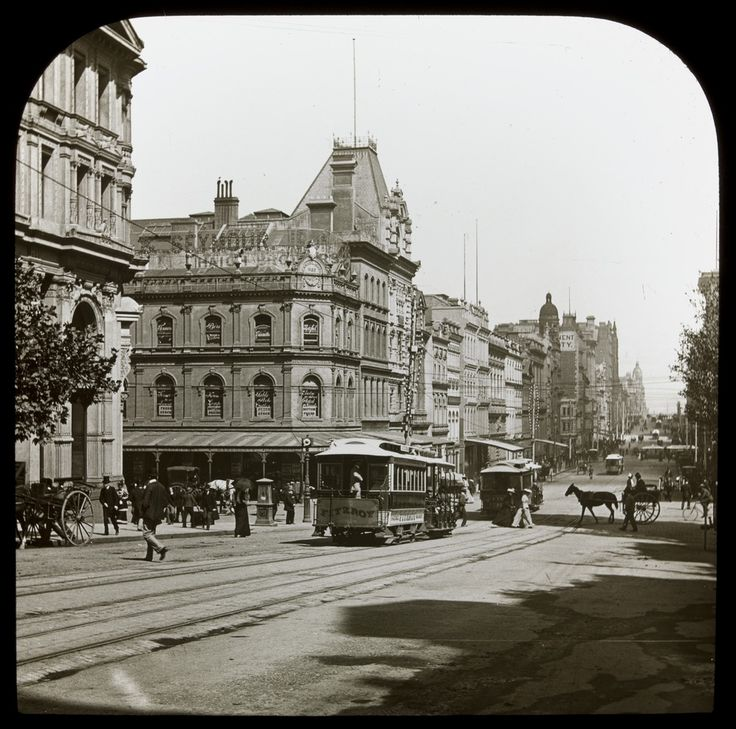 Looking west along Collins Street, Melbourne, c1900. Photograph courtesy State…