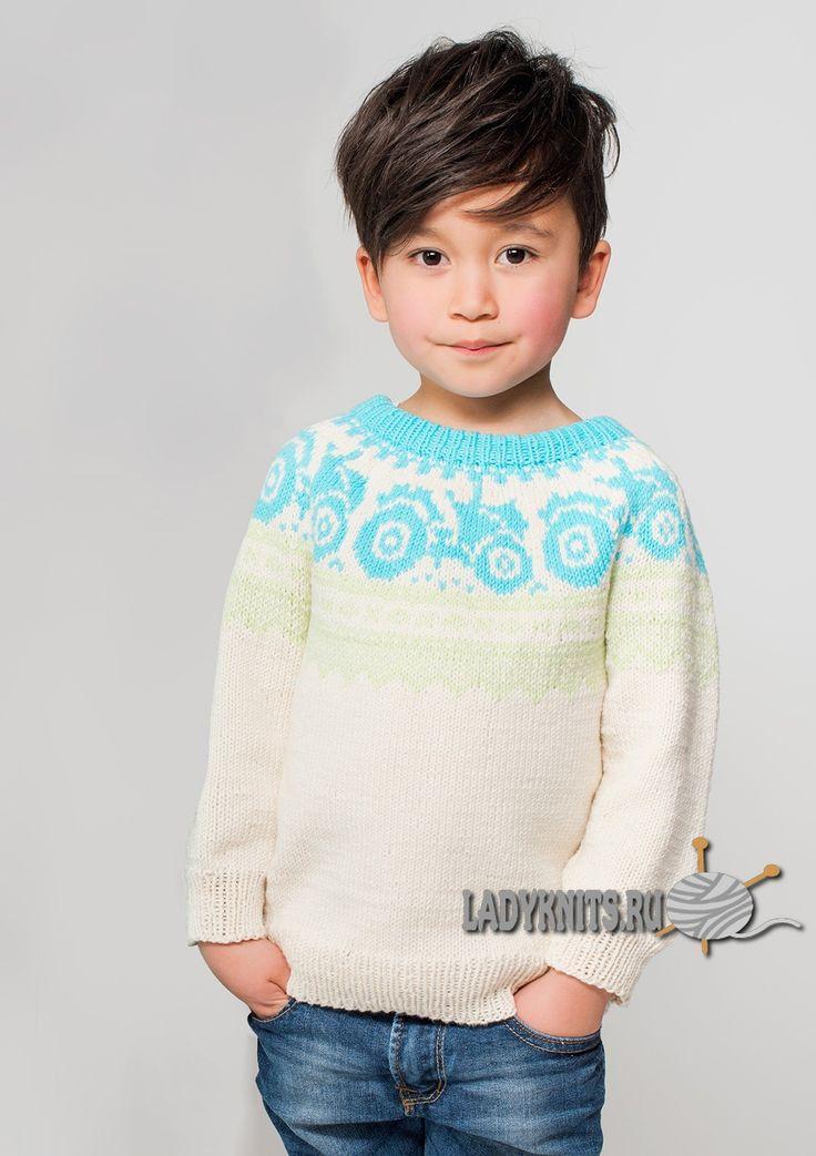 Вязаный спицами жаккардовый джемпер для мальчика от 1 года до 8 лет-ОПИСАНИЕ!