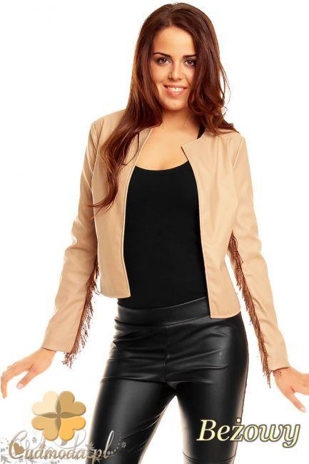 Skórzany damski żakiet - niezapinany z frędzlami marki NOMMO.  #cudmoda #moda #styl #ubrania #odzież #clothes #żakiety