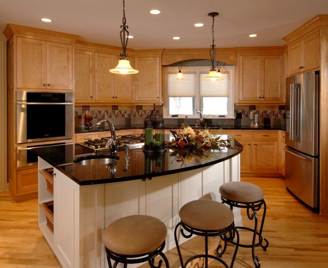 Black granite from custom stone interior similar to for Dark kitchen cabinets with light island