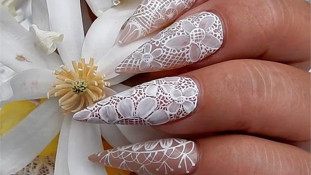 Summery Lace Wedding Nail Art Wedding Nails Lace Wedding Nails