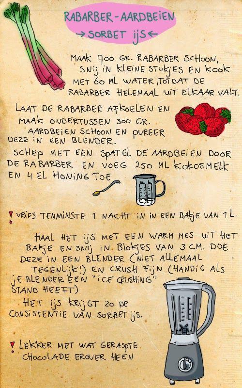 plant-aardig: rabarber aardbeien sorbet-ijs
