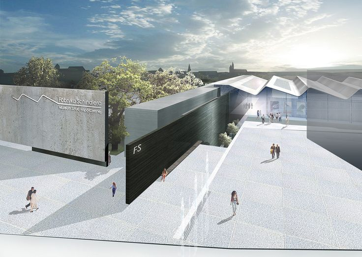 South view. The exernal walls with the proposal of the logo of the museum.  #rendering #roof #wall #floorfountain #competition #fabryka #postindustrialbuilding