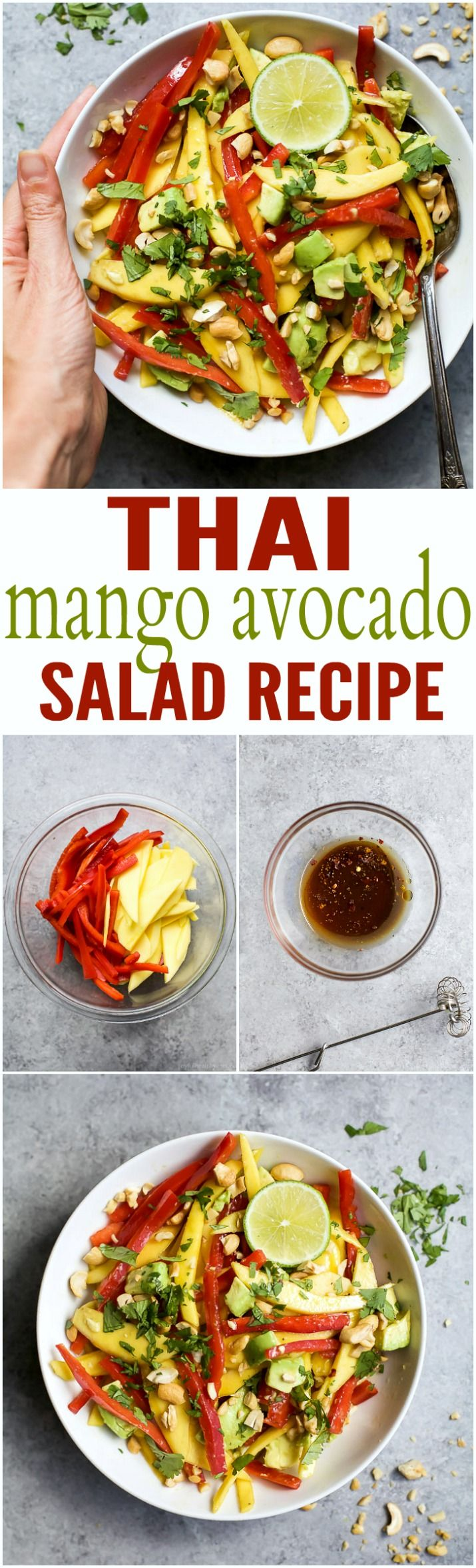THAI MANGO AVOCADO SALAD - an easy, light, gluten free salad perfect for the summer! Filled with fresh mango, red pepper, avocado, and a light sesame vinaigrette to bring everything together!