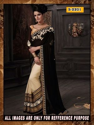 cream ambroidery georgette  party wear saree with blouse Bollywood Sarees Online on Shimply.com