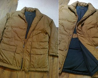 hunting mustard b rown down filled puffer winter coat jacket military ...