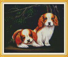 Two Dogs Cotton Animal cross stitch kits Sets  DMC 14ct white 11ct printed embroidery DIY handmade needle work wall home decor(China (Mainland))