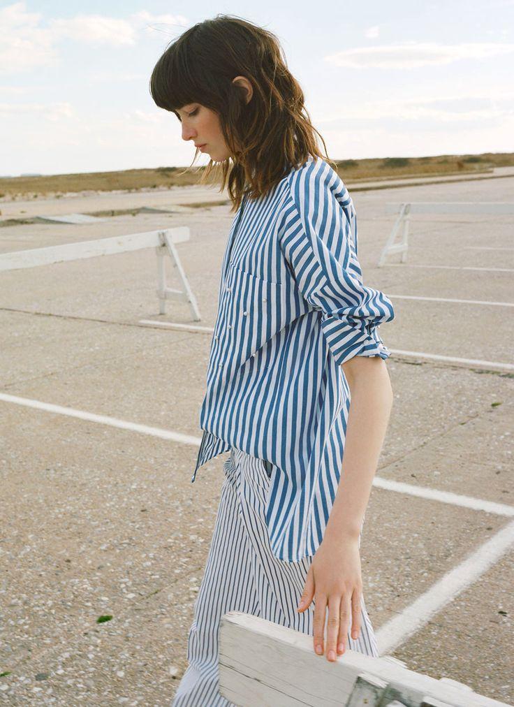 Pantalon large à rayures Zara
