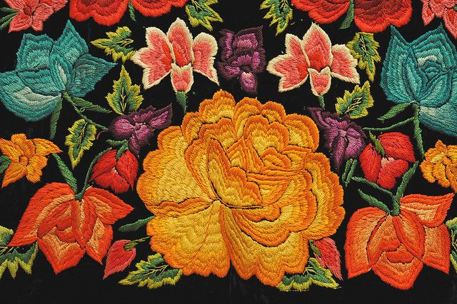 "Mexican Flowers. It's time to say ""farewell"" to Fall. Winter awaits. Embroidered flowers from a huipil made in Tehuantepec, Oaxaca Mexico"