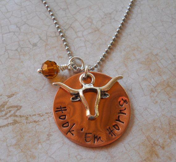 Hook 'Em Horns  Hand Stamped University of by TheDescendingDove