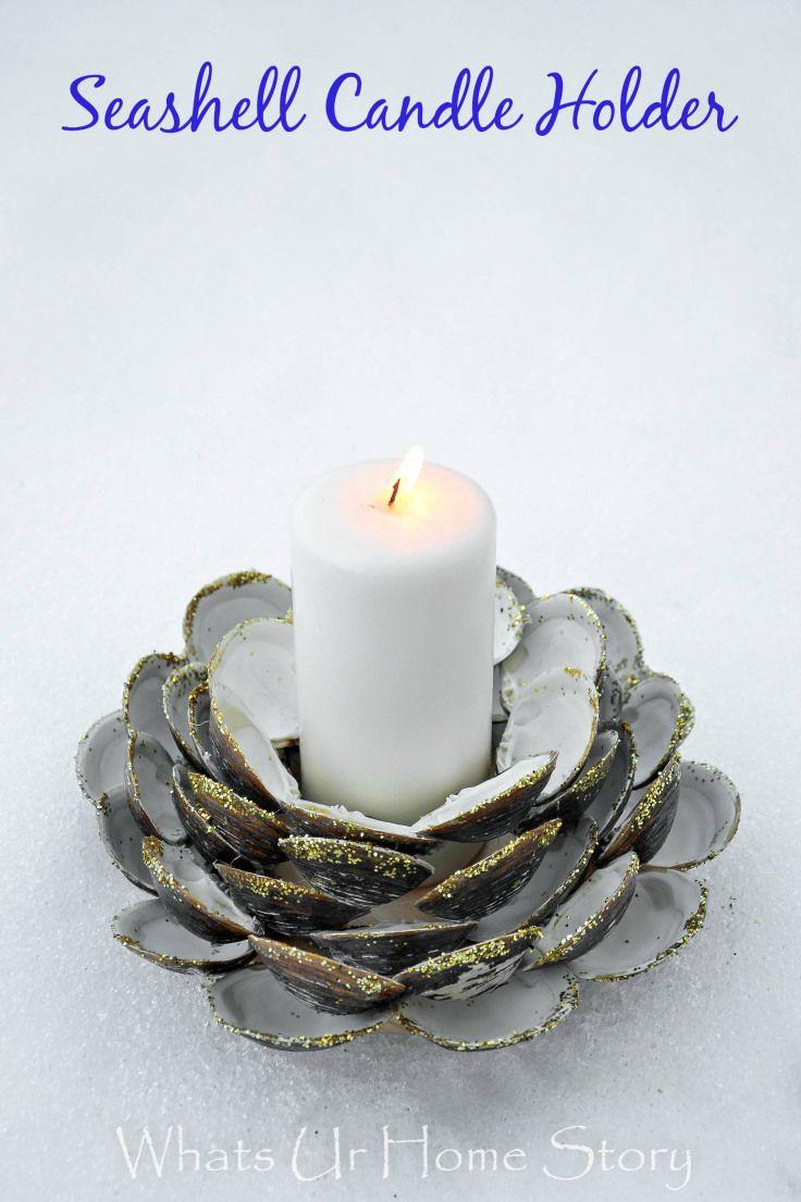 64 best oceanshell candles images on pinterest shells beach diy seashell candle holder solutioingenieria Gallery