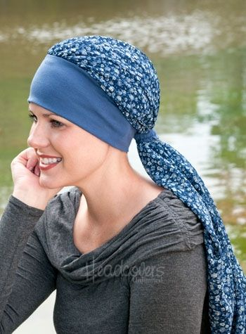 easy scarf - mean for cancer patients, but I love the idea of a knit tshirt material as a headband.  I would make the actual scarf shorter, and the band a bit thinner.