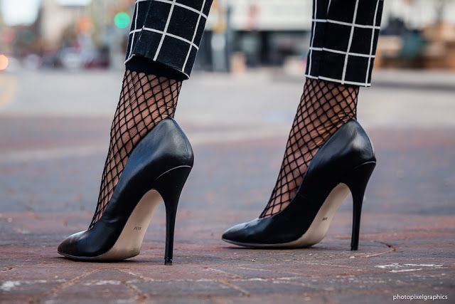 How to wear this an oversized fish net ankle socks with stiletto pumps