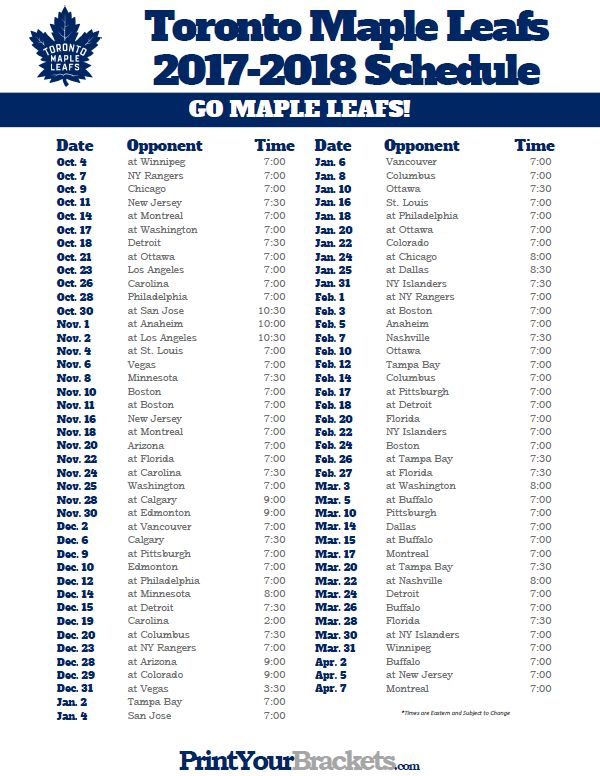 Printable Toronto Maple Leafs 2017-2018 Schedule