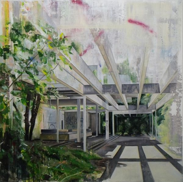 Ross M. Brown | Pavilion (interior), oil, oil stick and spray paint on board, 122x122cm, 2014 @LaceyContemporary  #contemporaryart,  #laceycontemporary,  #paintings,  #londonart,  #artlondon,