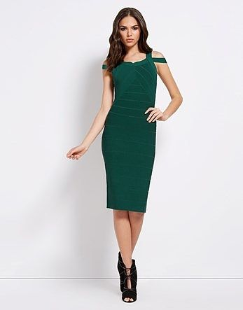 Womens bottle green julien macdonald bandage dress from Lipsy - £65 at ClothingByColour.com