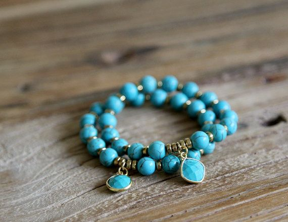 Turquoise howlite beaded charm stacking bracelet by Rosehip Jewelry