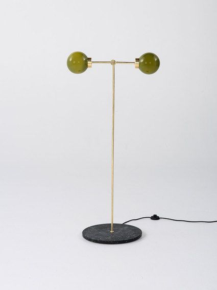 PARE Floor Lamp 02 - Bronze Green glass and Noir marble