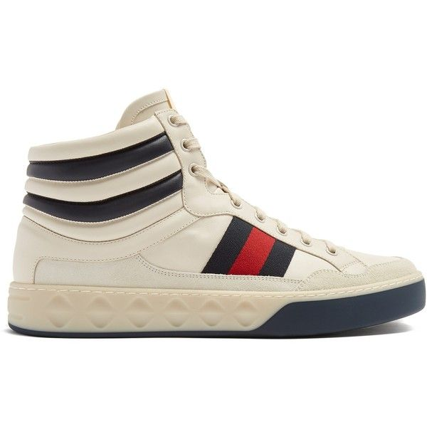 Gucci Web-striped high-top leather trainers ($810) ❤ liked on Polyvore featuring men's fashion, men's shoes, men's sneakers, shoes, white multi, mens white leather sneakers, mens cap toe shoes, mens leather shoes, mens high top sneakers and gucci mens sneakers