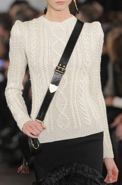 This formula never fails:  sweater, skirt, messenger bag.  Ralph Lauren Fall 2013 - Details