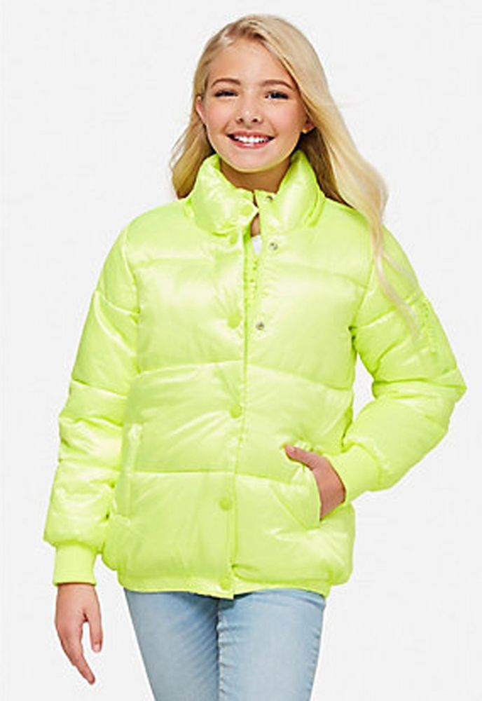eBay  Sponsored Justice Girls  Neon Yellow Puffer Coat Jacket Removeable  Faux Fur Hood 12 14 New 61dc7184533
