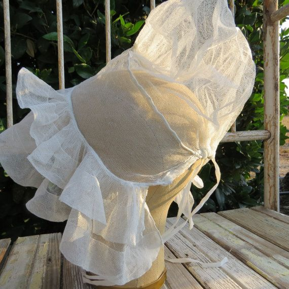 Antique bonnet from France in fine tulle netting by artandsalvage, $20.00
